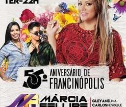Marcia Felipe no aniversário de 56 anos de Francinópolis