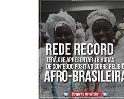 Rede Record é obrigada pela justiça a mostrar a cultura africana