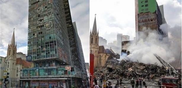 Antes e depois do prédio de 24 andares que desabou no centro de SP após pegar fogo (Crédito: reprodução)