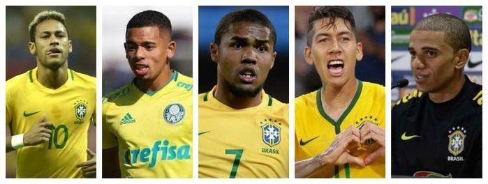 Atacantes: Neymar, Gabriel Jesus, Douglas Costa, Roberto Firmino e Taison