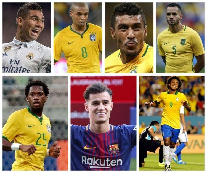 Meio-Campistas: Casemiro, Fernandinho, Paulinho, Renato Augusto, Fred, Philippe Coutinho e Willian