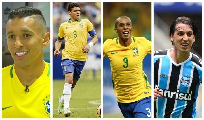 Zagueiros: Marquinhos, Thiago Silva, Miranda e Pedro Geromel