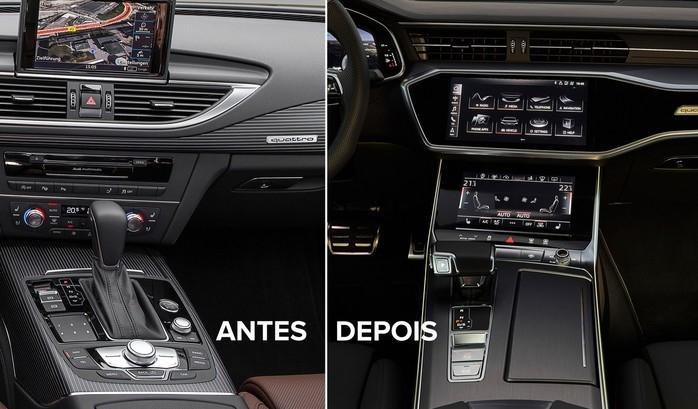 Interior do Audi A7 da geração anterior e do novo modelo (Crédito: Divulgação)