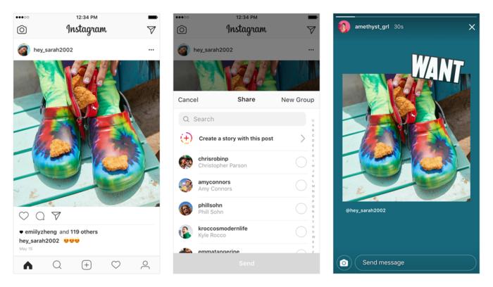 Instagram agora permite compartilhar postagens em Stories