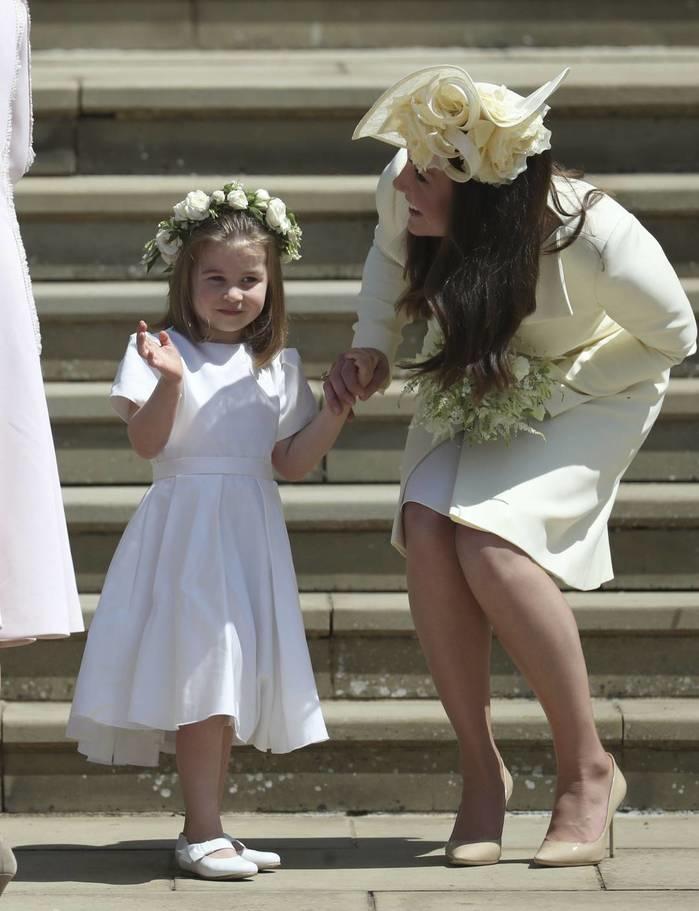Kate Middleton e sua filha, Princesa Charlotte (Crédito:  Jane Barlow/pool photo via AP)