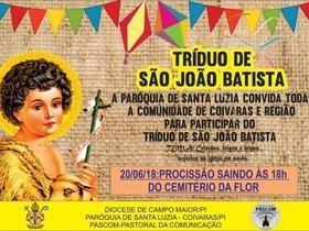 Paróquia de Santa Luzia celebrará Tríduo de São João Batista