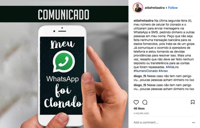 Átila Lira diz que seu número foi clonado (Crédito: Instagram )