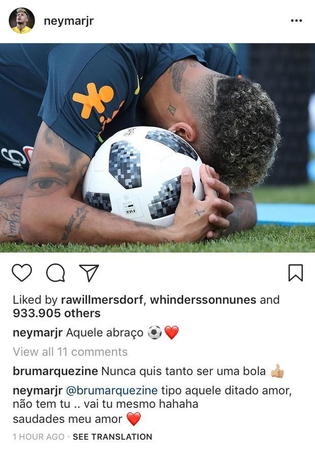 A conversa de Neymar e Bruna no post do jogador  (Crédito:  Reprodução Instagram)
