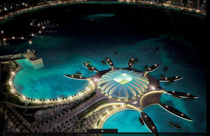 O Doha Port Stadium impressiona por estar localizado dentro de uma lagoa: capacidade para 44.950 torcedores (Crédito: Divulgação)