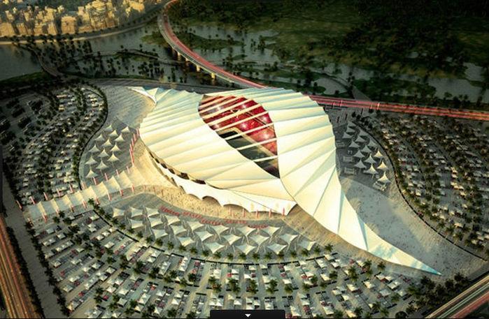 Outra arena de design inovador, o Al-Khor poderá receber 45.330 torcedores na Copa de 2022 (Crédito: Divulgação)