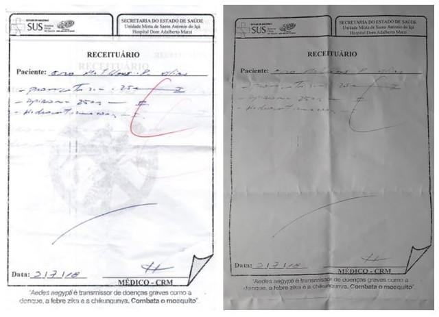 À esquerda, uma cópia da receita prescrita pelo médico antes da correção da dosagem para 2,5 mg feita com caneta (direita)