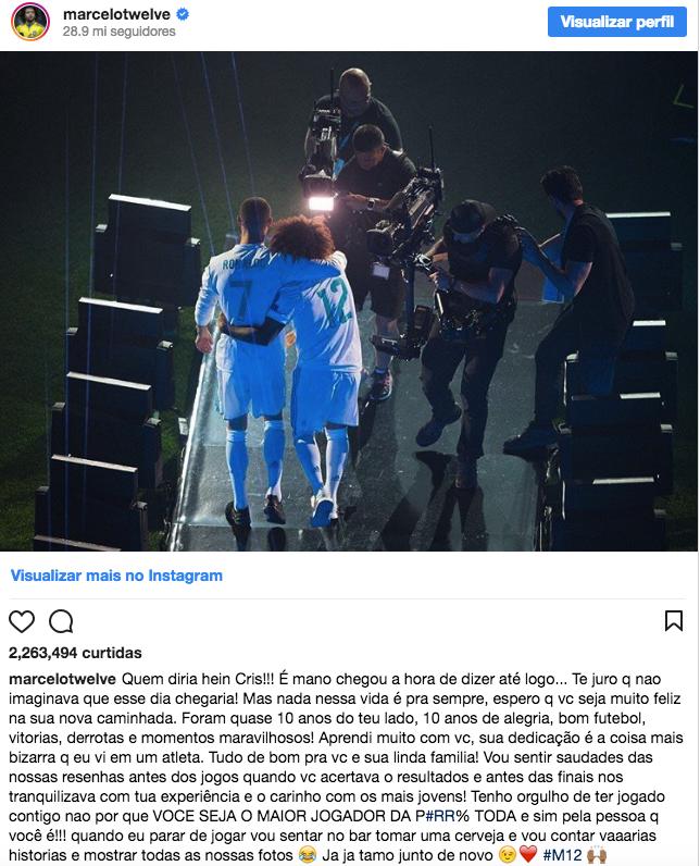 Texto de despedida de Marcelo para CR7 (Crédito: Reprodução/Instagram)