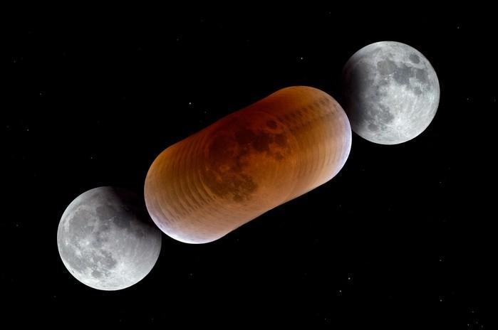 Foto mostra a Lua em diferentes fases durante um eclipse lunar total (Crédito:  P. Horálek/ESO)
