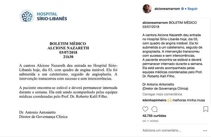 Boletim médico (Crédito: Reprodução/Instagram)