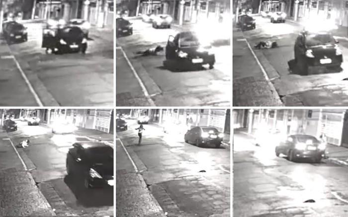 Mulher abriu a porta do carro e saltou com veículo em movimento (Crédito: Reprodução/Câmeras de segurança)
