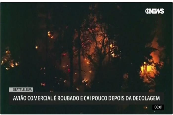 Avião pegou fogo após a queda (Crédito: Reprodução/Globo News)