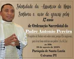 Semana da Família celebrará 17 anos Sacerdotal de Antonio Pereira