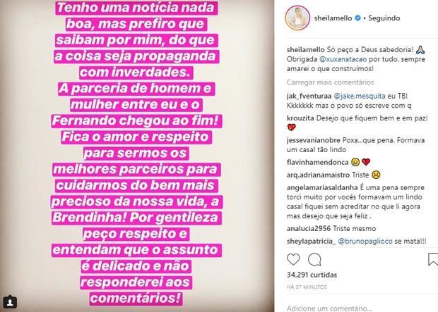 Sheila Mello anuncia separação de Fernando Scherer (Foto: Reprodução/Instagram) Sheila Mello anuncia separação de Fernando Scherer  (Crédito: Reprodução/Instagram)