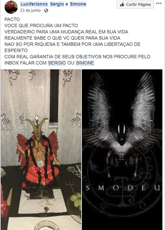 Publicações de casal ofertavam rituais satânicos no Facebook  (Crédito: Reprodução/Facebook)