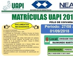 UAPI de Coivaras prepara matrículas do curso de Administração