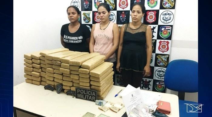 Irmãs presas com maconha no Maranhão (Crédito: TV Mirante/Reprodução)