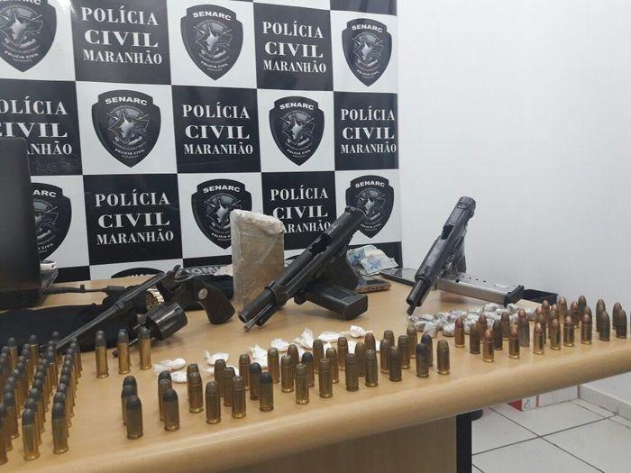 Armas e munições apreendidas em Timon (Crédito: Polícia Civil do Maranhão)