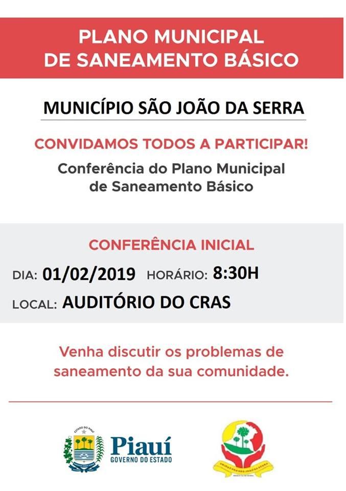 População é convidada para participar de conferência sobre saneamento básico