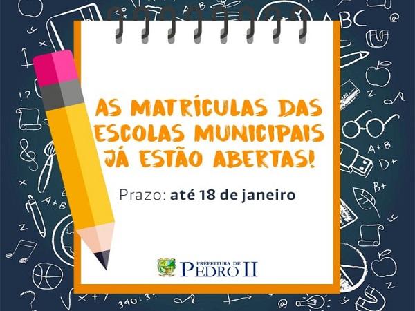 Secretária de Educação de Pedro II reforça período das matrículas