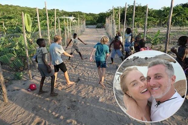 Luciano Huck mostra Benício e Joaquim jogando bola em Moçambique