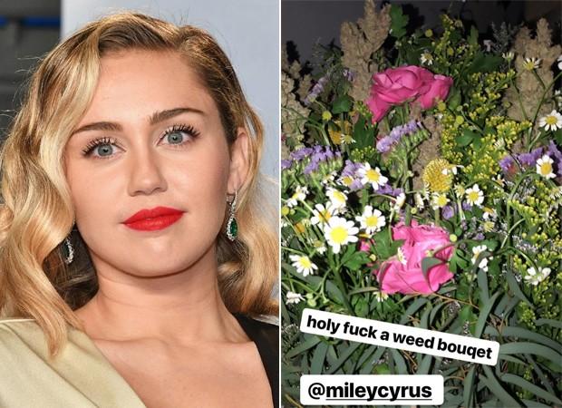 Miley Cyrus surpeende e envia buquê de maconha para irmã de 19 anos