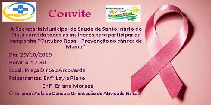 Secretaria municipal de saúde de Santo Inácio realizará palestra sobre o outubro rosa