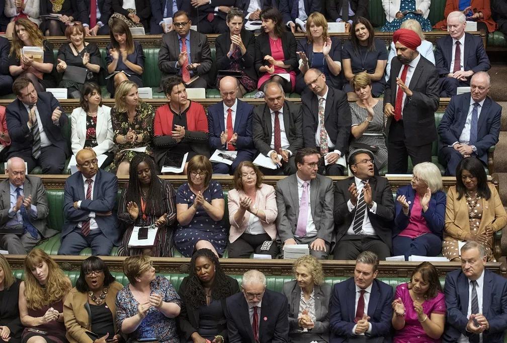 Parlamentares britânicos em dia de votação sobre o Brexit no Reino Unido — Foto: Jessica Taylor/House of Commons via AP