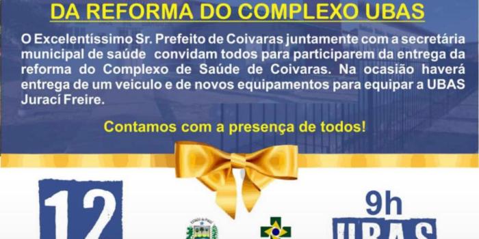 Inauguração de obra: Marcelino Almeida irá inaugurar dia 12 de novembro reforma e modernização da UBS Juraci Freire