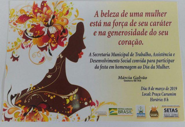 Piripiri - SETAS comemorará o dia da mulher