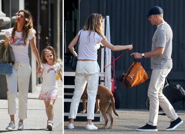 Gisele Bündchen passeia com Tom Brady e os filhos em Nova York (Foto: Grosby Group)