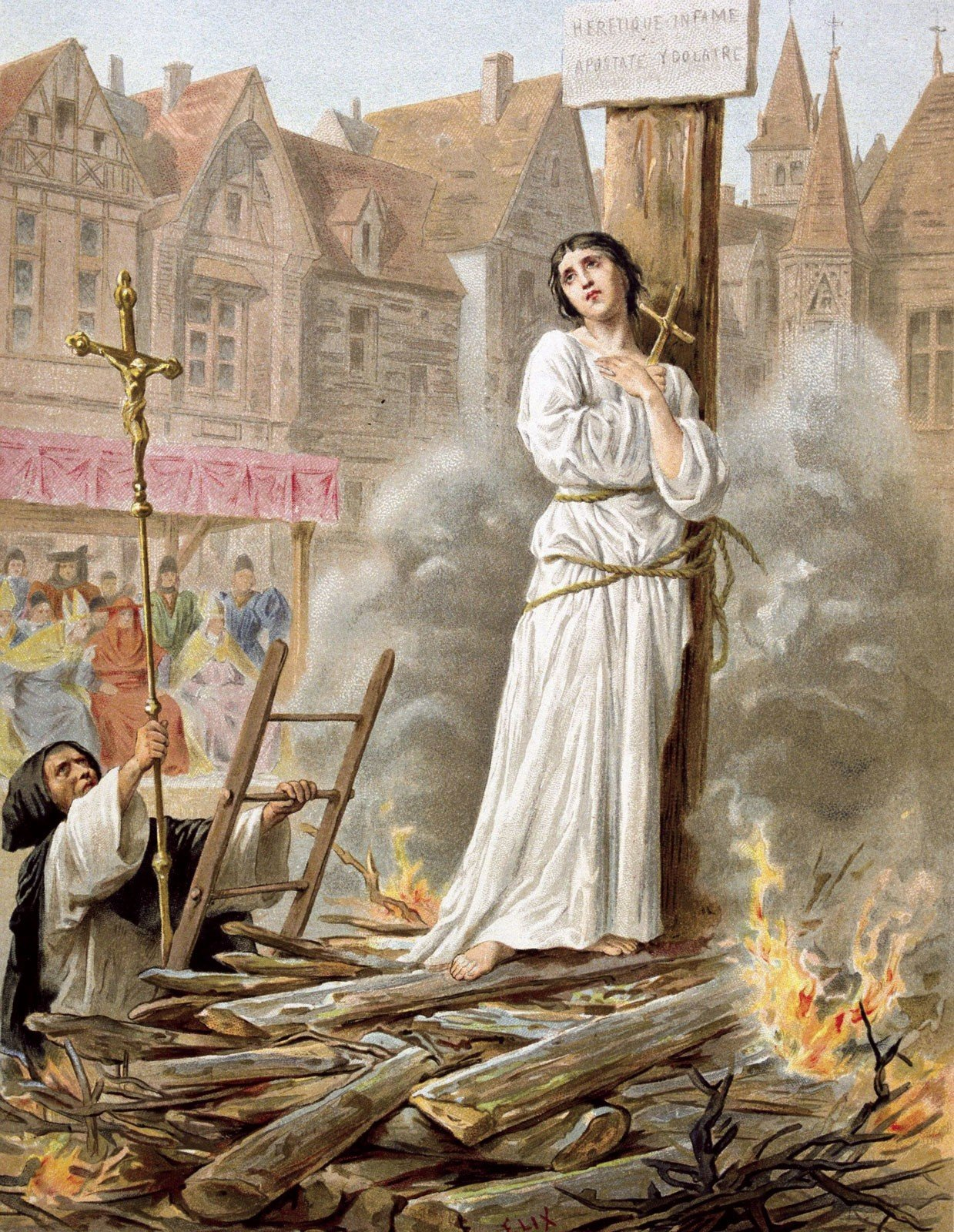 Joana d'Arc, heroína francesa e santa, foi queimada na fogueira