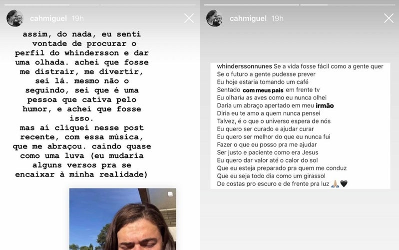 Irmã de Rafael Miguel se emociona com post de Whindersson Nunes - Imagem 2