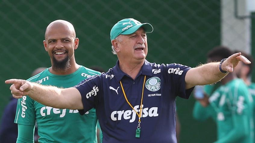 Felipe Melo e Felipão durante o treino dessa terça-feira, na Academia de Futebol (Foto: Cesar Greco) .