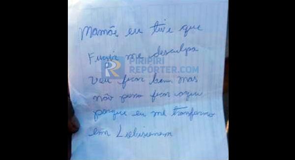 Carta deixada pelo suspeito ao lado do corpo
