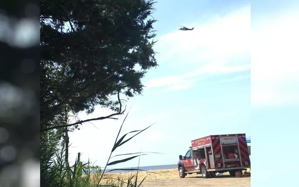 Polícia, bombeiros e Guarda Costeira realizaram buscas por Tiago Lopes Passos, nos EUA — Foto: Reprodução/TV Anhanguera