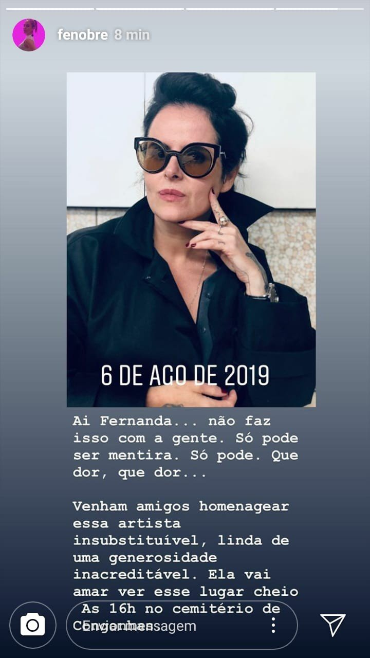 """Fernanda Nobre lamenta morte de Fernanda Young: """"Que dor, que dor!"""" - Imagem 2"""