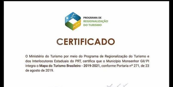 Monsenhor Gil no Mapa do Turismo brasileiro 2019
