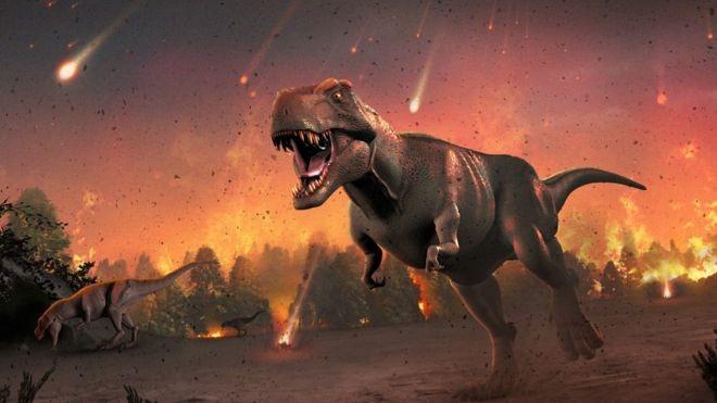 Ilustração do impacto do meteoro