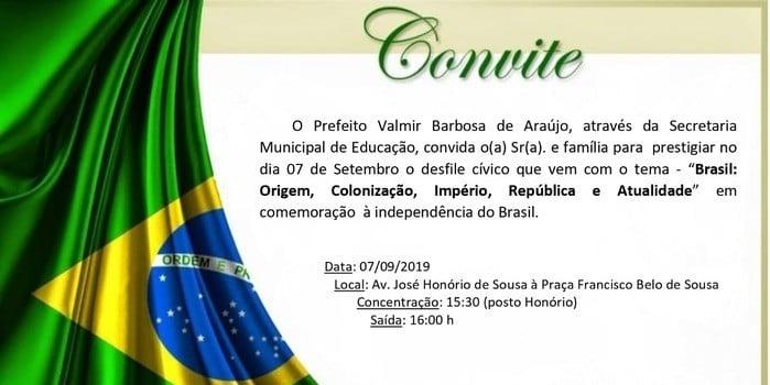 DEL realizará desfile cívico de 7 de Setembro