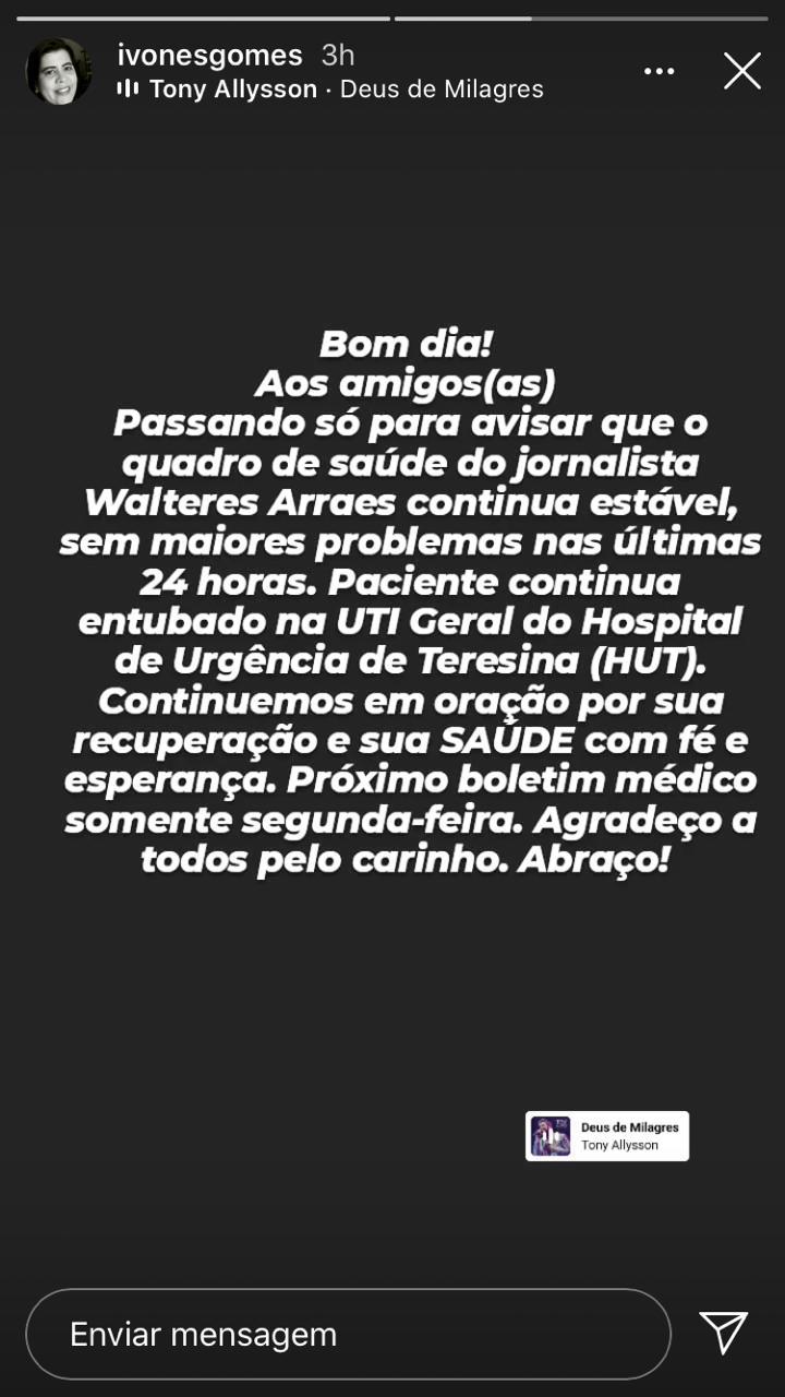 Esposa de Walteres Arraes atualiza situação de seu quadro clínico no HUT( Reprodução/ Instagram)