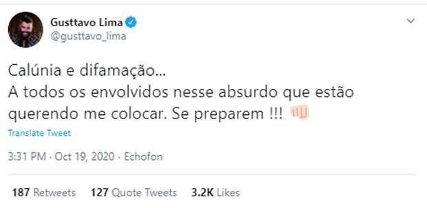 Post de Gusttavo Lima no Twitter