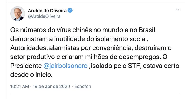 Arolde de Oliveira defendia cloroquina e era contra o isolamento - Imagem 1