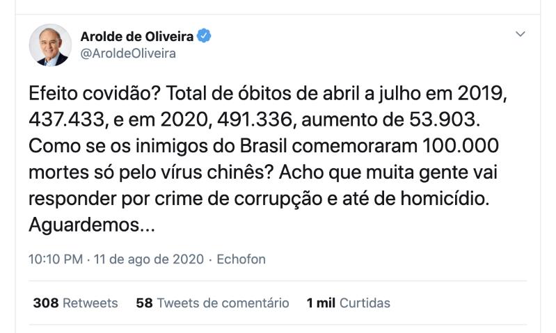 Arolde de Oliveira defendia cloroquina e era contra o isolamento - Imagem 3