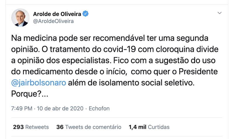Arolde de Oliveira defendia cloroquina e era contra o isolamento - Imagem 4