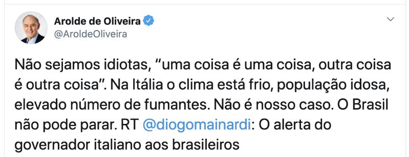 Arolde de Oliveira defendia cloroquina e era contra o isolamento - Imagem 2